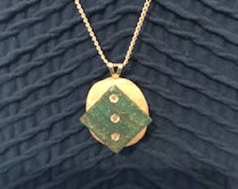 Shell Necklace Mother of Pearl Necklace with Blue Green Mosaic Tile