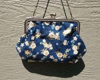 Metal frame purse/ Blue purse with white flowers