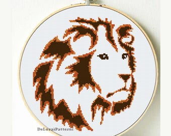 Lion cross stitch pattern. Animals cross stitch chart. Cross stitch pattern. Lion wall decor. Lion wall hanging Counted cross stitch pattern