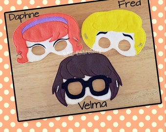 Fred-Daphne-Velma- Scooby Doo- Inspired Felt Mask- Set 2-Child's Dress Up and Imaginary Play- Birthday Party Favor-Photo Shoot-Theme Party