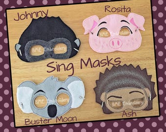 Sing Inspired Felt Masks- SING Movie-Johnny- Ash- Rosita-Buster Moon-Child Dress Up Imaginary Play- Birthday Favor-Photo Shoot-Theme Party