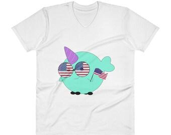 Men's Americano Whalicorn V-Neck T-Shirt