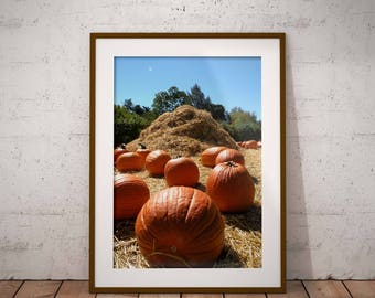 Pumpkins and hay stack, pumpkin patch, downloadable photography, fall harvest, autumn photography fall pumpkins, fall photography, seasonal