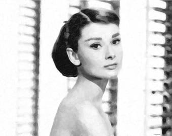 Audrey Hepburn (black and white)
