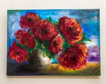 Red peony oil painting