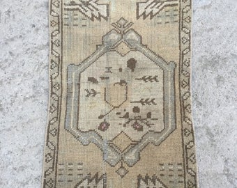 Doormat Rug, Bathroom Rug, Floor rug,vintage rug,vintage Oushak rug,Small rug,Turkish rug,Rugs,carpet,Home interior rug 1.5x2.11 / 45x90