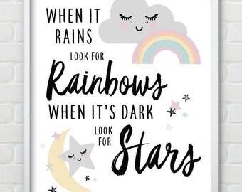 Rainbows & Stars Nursery Wall Print