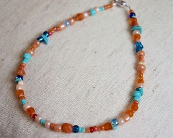 Glass seed bead anklet