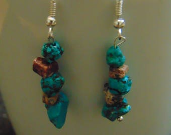 Turquoise and brown rock dangle earrings