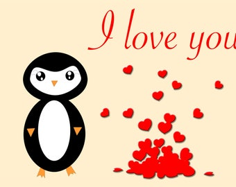 Valentine's day Penguin Postcard greeting card  digital file digital download postcard