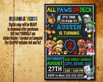 Paw Patrol Invitation,Paw Patrol Birthday,Paw Patrol Party,Paw Patrol Card,Paw Patrol Printable,Paw Patrol Editable,Paw Patrol,Boy Invites