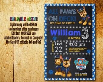 Paw Patrol Invitation,Paw Patrol Birthday,Paw Patrol Party,Paw Patrol Card,Paw Patrol Printable,Paw Patrol Editable,Paw Patrol,Boy_BF704
