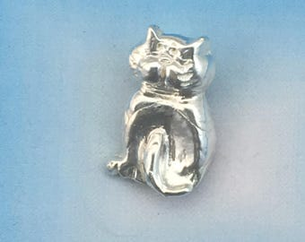 Fine Silver Big Kitty Pendant made from Precious Metal Clay