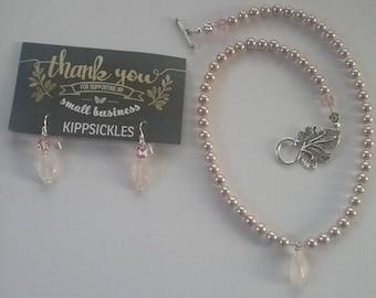 Rose Quartz pendant and matching earrings
