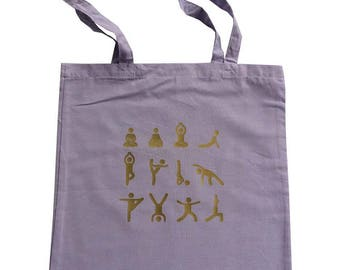 Yoga tote bag with yoga poses and long handles, cotton bag, tote bag, yoga bag, yoga mat bag, printed bag, printed tote, tote