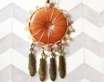 Copper Wire Wrapped Red Aventurine Dream Catcher Style Pendant Necklace with feather charms for Vitality, Mental Alertness, Perseverance