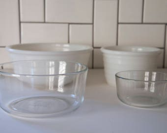 Mix n' Match White Milk Glass and Pyrex Nesting Mixing Bowls Set of 4, Wedding, Housewarming