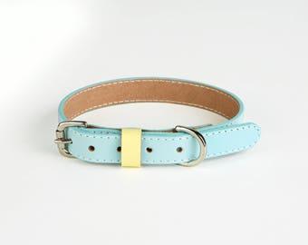 Ocean blue handmade leather Dog collars