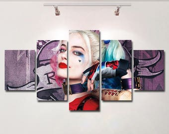 Harley Quinn Suicide Squad poster canvas wall art print painting wall hanging home decor High Quality 5 piece set birthday Gift kids
