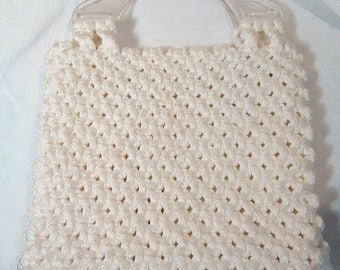 Vintage 1970s handmade white 'Accneto Craft' macrame purse with clear handles