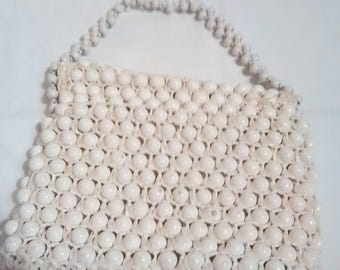 Vintage 1970s white big beaded purse