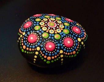 Handpainted Mandala Stone in Bright Colors