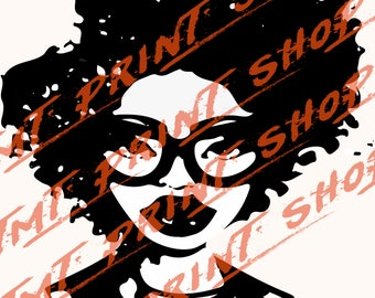 AFRo GIrl iwth Glasses Cut FIle SVG and Silhouette file