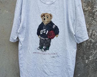 Vintage Polo Bear by Ralph Lauren Made in USA Light Grey Tshirt