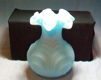 Fenton Blue Satin Glass Drape Vase