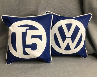 VW style scatter cushions in leatherette for your home or motorhome or campervan.Personalised at extra cost. T4 T5 T6