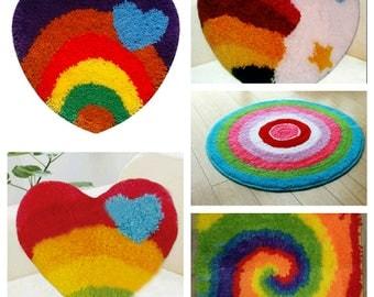 Heart Shape Rainbow Latch Hook Rug Kit DIY Mat Needlework Kit Unfinished Crocheting Rug Yarn Cushion Embroidery Carpet Home Decoration Gift