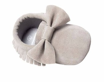 Grey Suede Bow Baby Moccasins
