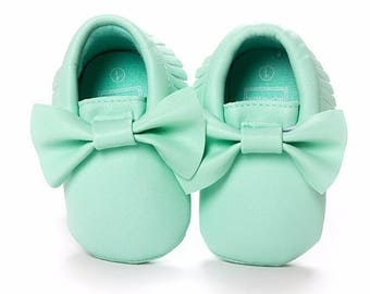 Mint Leather Bow Moccasins