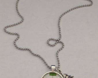 Handmade Christmas Trees Silver Tone Glass Pendant Necklace