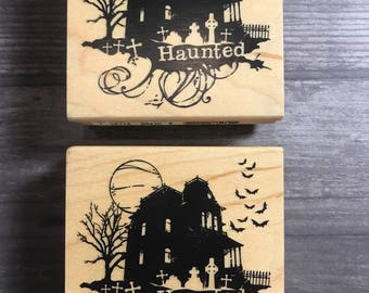 Haunted House Wooden Block Stamp