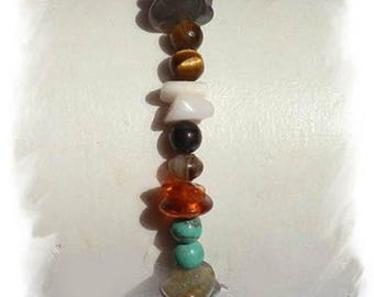 Tiger eye bracelet, amber, Moonstone, TURQUOISE, AGATE and LABRADORITE and 925 sterling silver