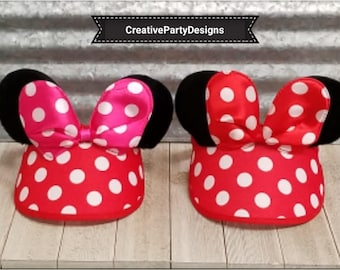 Minnie Mouse Visor, Minnise Mouse Hat, Minnie Mouse Ears, Mickey Mouse Visor, Minnie Mouse Headbands, Minnie Mouse Hat, Mickey Mouse Ears