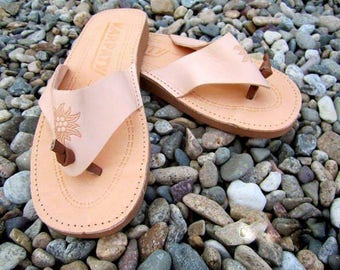 Natural Calf Leather Flip Flops/Slippers