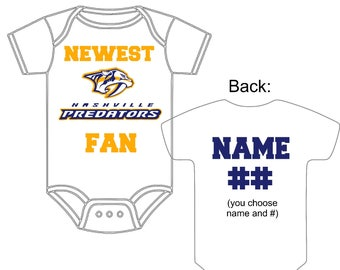 Nashville baby etsy newest nashville predators fan custom made personalized hockey gerber onesie jersey you choose name number negle Image collections