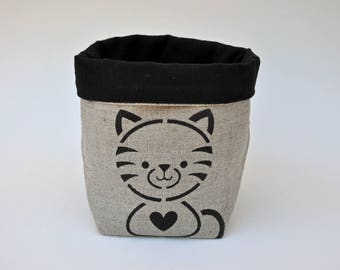 Cat fabric storage basket