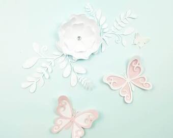 Paper flowers wall, Nursery paper flowers, Yellow  paper flowers decor, Butterflies nursery wall decor, Large butterflies nursery decor.