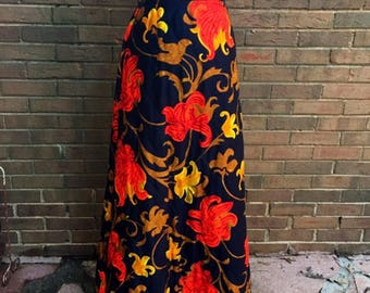 70s Mr. B of California quilted high waisted maxi skirt 1970s flowered vintage retro