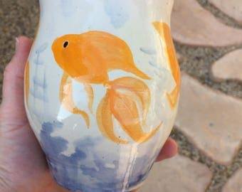 Hand Thrown, Hand Painted Goldfish Vase