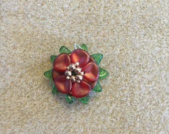 Rose Pendant with Leaves