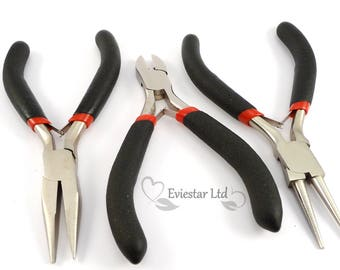 Jewelry Pliers Sets, Ferronickel, Side Cutter, Round Nose and Chain Nose Pliers, Black, PTS-19