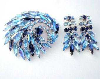SHERMAN Vintage Signed Necklace Montana Blue & Sapphire Blue Rhinestone Brooch Set 1960s Era