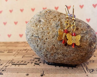 Butterfly earrings-red and gold