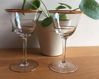 Vintage Wine Glass Gold