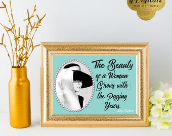 Audrey beauty of woman quote. Audrey Hepburn Quote print, wall art, home decor, 7x5 {Blue/Silver Pearl Frame}