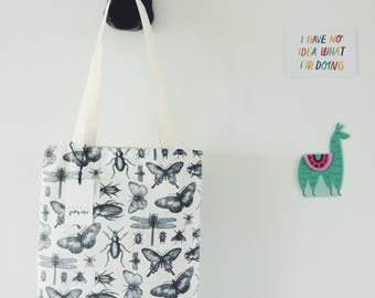 Handmade Canvas Tote Bag Insect Print